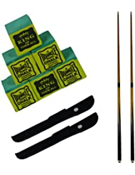 2 x 2 piece trade quality 48 inch snooker / pool cue with 2 x FREE cases & 6 FREE Triangle Green Chalks by SGL