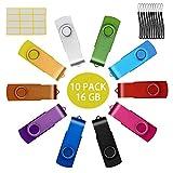 Chiavetta USB 16GB Uflatek Portatile Pen Drive 16 Giga 10 Pezzi Girevole Chiavette Pennetta USB 2.0 Multicolore Flash Drives Memoria Stick 16 GB (16GB*10PCS)