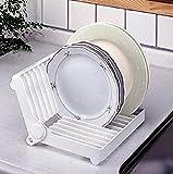 #8: Woogor Folding Plastic Kitchen Dish Rack Stand Plate Holder 1 Piece Random Colors