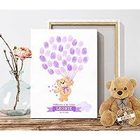 Geschenk zur Taufe und Geburt großer Bär Taufbaum für Fingerabdrücke Erinnerung Kinderzimmerdeko Leinwand oder Papier PERSONALISIERBAR