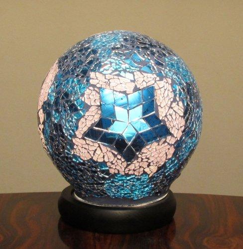 Mosaik Lampe Glas Kugel Blau Weiss mit Ornamente Mosaikglas Leuchte Blaue Kugel Ornamente