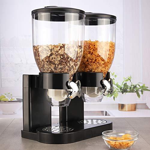 #11 Müslispender doppelt Cerealienspender mit 2 Behältern je 3,5 Liter Schwarz Müsli Cornflakes Müslidose Müslidosen Vorratsdosen Müslibehälter
