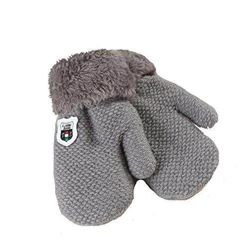 Handschuhe, Niedliche Baby Jungen Mädchen Kleinkind Gestrickte Winter Warme Handschuhe (1 bis 4 Jahre) (Grau)