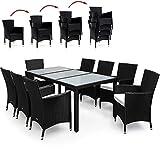 Deuba® Poly Rattan Sitzgruppe 8+1 Schwarz | 8 stapelbare Stühle | 7cm dicke Sitzauflagen Creme | wetterfestes Polyrattan [ Modell- & Farbauswahl 4+1 / 6+1 / 8+1] - Gartenmöbel Gartenset Lounge Sitzgarnitur Essgruppe Set