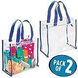 mDesign 2er-Set Reisetasche für Accessoires – praktische Tasche für Strand, Pflegeprodukte oder Kosmetik – moderne Tragetasche aus PVC-Kunststoff – durchsichtig und blau