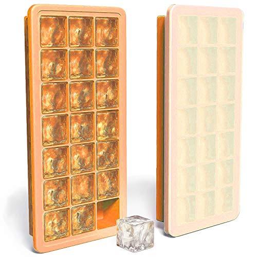 Eiswürfelform,MAIGG silikon eiswürfelbehälter,100 % BPA frei Eiswürfel Eiswürfelschalen einfach zu bedienen und waschen für Wasser, Soda, Saft, Wein, Obst, Kräuter, Saucen, Pudding, pürierte Babynahrung in der Tiefkühltruhe, Backofen, Geschirrspüler, Kühlschrank und Mikrowell (Orange).