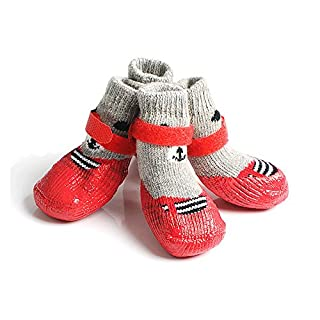 AZX Waterproof Dog Socks Silicone Anti-Slip Socks Puppy Dog Paw Protectors Warm Boots With Velcro Straps (Small, Red)