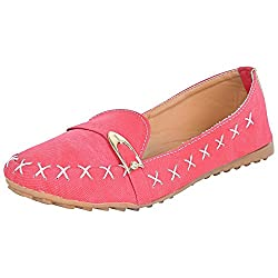 Footrendz Womens Denim Synthetic Leather Loafers (37 EU)