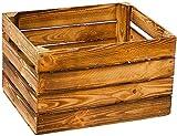 Kistenbaron Weinkiste Obstkiste Holzkiste wie aus dem Alten Land – Natur geflammt weiß - Regal Dekoration Holz (Geflammt, Einzelset)