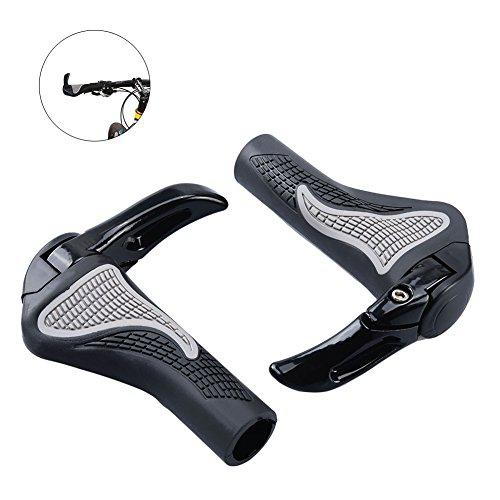 RUNACC Lenkergriffe Fahrradgriff Antislip Soft Gummi Wie Bockshorn-Form Griffe 1 Paar, Schwarz