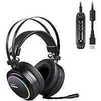 AUKEY Auriculares Gaming de diadema cerrados con micrófono- Cascos USB Estéreo para Juegos con Sonido