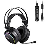 AUKEY Cuffia Gaming Headset USB Headphone per PC, PS4, Xbox One, Surround 7.1, LED RGB, Nero