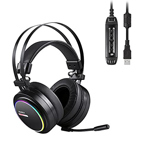 AUKEY Casque Gamer Casque PS4 Gaming USB Stéréo doté d'un son surround 7.1 virtuel et des effets LED RGB Casque audio avec Micro pour ordinateurs et PS4- Noir