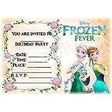 Disney Frozen fiesta de cumpleaños invitaciones–congelados fiebre naranja diseño–fiesta suministros/accesorios (Pack de 12invitaciones A5) WITHOUT Envelopes