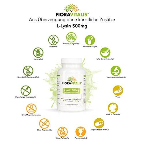 L-Lysin 500mg in der VORTEILSPACKUNG   Kapseln ausreichend für 4 Monate   100% VEGAN und NATURREIN   keine künstlichen Zusätze   ohne Gentechnik   Power-Aminosäure von FIORA VITALIS