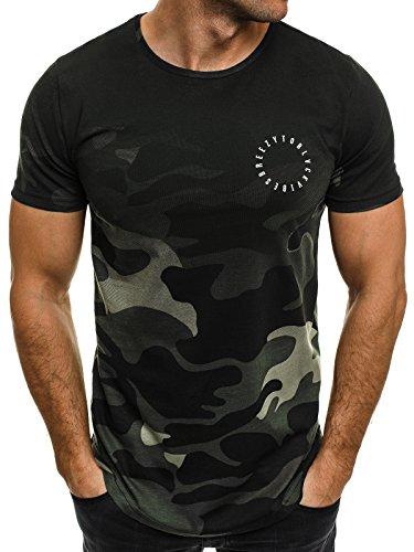 OZONEE Herren T-Shirt mit Motiv Kurzarm Rundhals Figurbetont Camouflage  Armee Militär 524 Dunkelgrün S 435e85152e