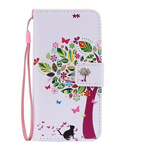 Schutzhülle für Apple iPhone 4S 4 case Wallet Leder Schale Tasche Magnet PU Hülle Handy Silikon Back Cover Etui Skin Shell Purse Portemonnaie Geldbörse(Standfunktion,Kreditkartenfach,Stylus,folie,Rein leibe baum