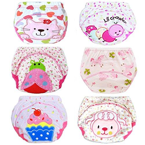 HaimoBurg 6er Pack Wasserdicht Baby Lernwindel Trainerhosen Unterwäsche Windeln Windelhose zum Toilettentraining Töpfchentraining (100, 6 Pack Mädchen)