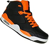 Bootsland High Top Basketballschuhe Skaterschuhe Damen Herren 006, Schuhgröße:45, Farbe:Schwarz/Orange