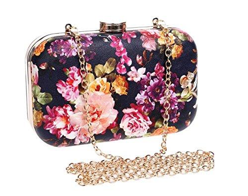 Damen Taschen Blumen Clutch Kleid Abend Party Hochzeit Kette Schulter Handtasche 4