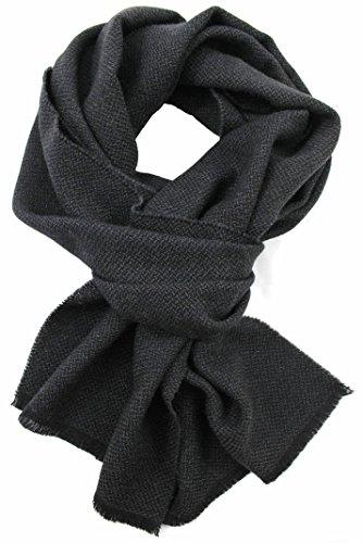 Preisvergleich Produktbild Schal Webschal Uni modisch grau schwarz 100% Wolle (Merino)