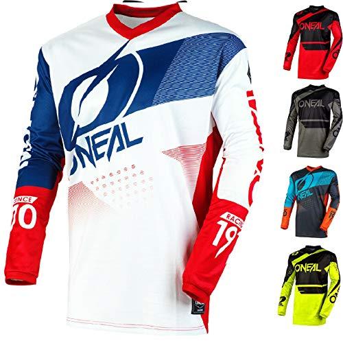 Motorrad-Hemden O'Neal Element 2020 Motocross Racewear Neu Off-Road Quad Rennen Hemd Dirt Pit Bike Trikot MX Herren Damen Sports Jersey (Blau/Rot/White,2XL/46)