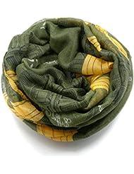 MZMZ ULTRA apretado el cuello un cálido Otoño e Invierno mujeres bufandas cartas sello enrejados pañuelo multicolor