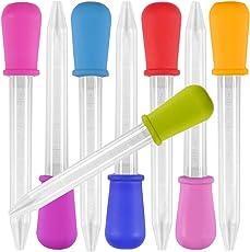 8 Stück Liquid Dropper, Dropper Pipetten 5 ML, Yidaxing Silikon und Plastik Pipetten Transfer Eyedropper für Süßigkeiten Öl Süßformen und Handwerk Formen Gummy Mold - 8 Farben