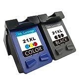 TooTwo 2 Pack 21XL 22XL Cartouches d'encre remplacement pour HP 21XL HP 22XL (1 Noir + 1 Tricolore)compatibles pour HP Deskjet F4180 F2180 F2280 F2290 F380 F335 F390, HP Officejet 4315 4355 Imprimante