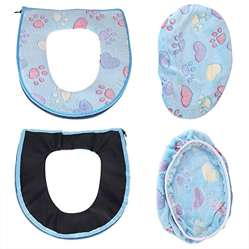 2pcs/set coprisedile wc + coperchio warmer set in pile corallo a forma di u, cuscino per sedile wc, tappetino da bagno decorazione blue