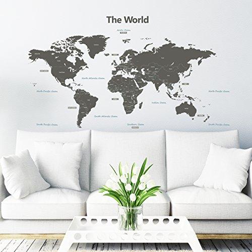 Decowall DLT-1609G Moderne Graue Weltkarte Wandtattoo Wandsticker Wandaufkleber Wanddeko für Wohnzimmer Schlafzimmer Kinderzimmer (Extra Groß)