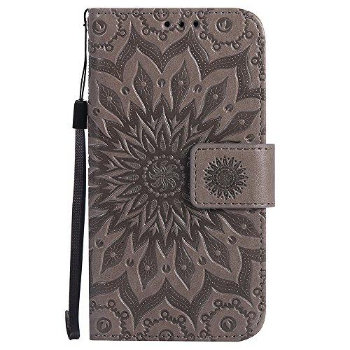Für Samsung Galaxy A3 2017 Fall, Prägen Sonnenblume Magnetische Muster Premium Soft PU Leder Brieftasche Stand Case Cover mit Lanyard & Halter & Card Slots ( Color : Purple ) Gray