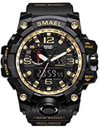 Men's Military Waterproof Digital-Analog Display Sport Watches Multifunctional Wrist Watches For Men (Gold)