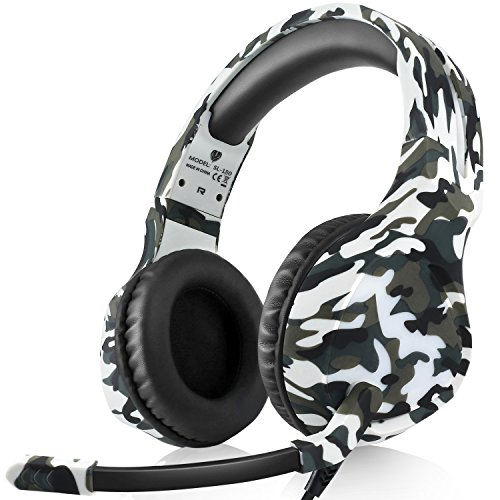 Dxnbikt Gaming Headset Kopfhörer Over Ear mit Mikrofon für PS4 Xbox One PC Mac Computer Laptop Phones 3.5mm Wired Rauschunterdrückung Stereo Sound on-Ear-Kopfhörer (Weiß)