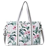 MOSISO Laptop Tote Sac (Jusqu'à 17,3 Pouces), Toile Classique Rose Motifs Multifonctionnel Sac Main Shopping Sac Bandoulière Compatible avec MacBook Notebook Ultrabook Chromebook, Feuille de Banane