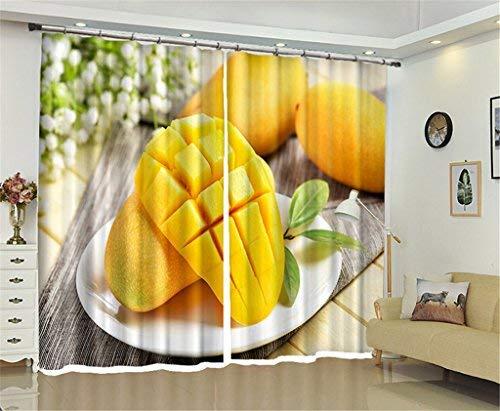 BAIF Juego de 2 Paneles, Cortina Decorada para paisajes de impresión 3D de Golden Mango Food, oscurecimiento de la Sala Ahorro de energía y reducción de Ruido Cortinas Opacas para la Sala de Esta