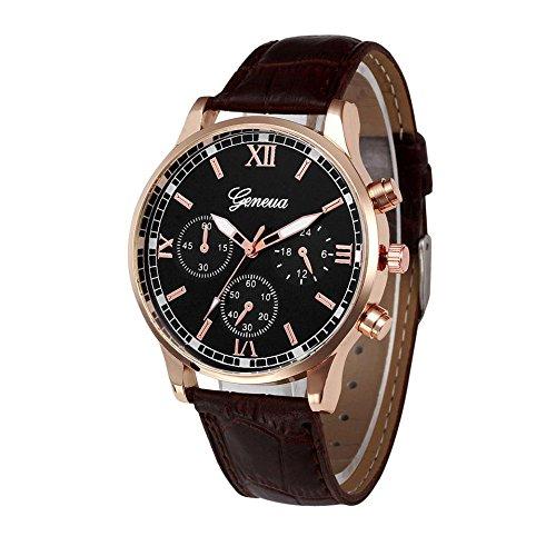 Doingshop Armbanduhr für Herren Vintage Design Ledergürtel Analog Legierung Quarz Uhr