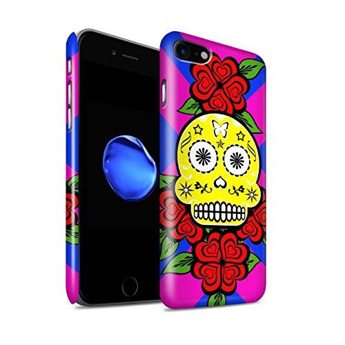 STUFF4 Glanz Snap-On Hülle / Case für Apple iPhone 8 / Türkis/Rose Muster / Süßigkeiten Schädel Kollektion Gelb/Rose