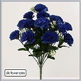 Permabloom - Bouquet artificiale in seta con 18 garofani blu navy, adatto per matrimoni, tombe e vasi