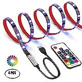 USB LED TV Hintergrundbeleuchtung Kit mit Fernbedienung,GHONLZIN LED Band Lichter 2m für 40-60 Zoll TV – 16 Farben SMD 5050 LEDs Ambiente Beleuchtung für HDTV (RF 2M)