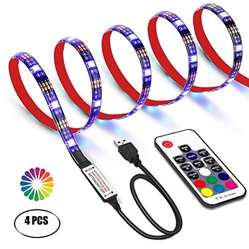 USB LED TV Hintergrundbeleuchtung Kit mit Fernbedienung,GHONLZIN LED Band Lichter 2m für 40-60 Zoll TV – 16 Farben SMD 5050 LEDs Ambiente Beleuchtung für HDTV (RF ()
