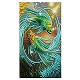 broadroot Zwei Fische Diamant Gemälde Stickerei DIY Kreuzstich Home Decor 5D grün