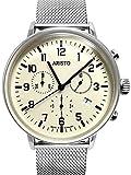 Aristo 4h160m Bauhaus Armbanduhr Swiss Chronograph Quarz auf Mesh Armband