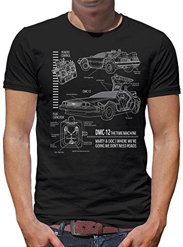 TLM DMC-12 Blueprint T-Shirt Herren L (Kostüm Hoverboard Marty Mcfly)