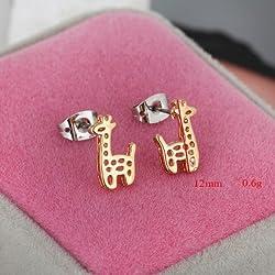 Lote de Y de la en forma de - en forma de ángel de la joyería de la clavija bañada en oro de anillo con incrustaciones de lindo Zircon de cristal en forma de diseño de estampado de jirafa diseño de ciervo de vigas de madera y de pendientes de 0159