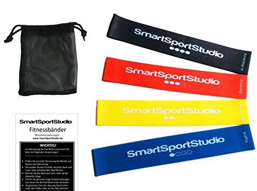 SmartSportStudio ★ Set de 4 bandas Elasticas Fitness ★ con bolsa de transporte y ejercicios ★ 100% látex natural ★ ideal para rehabilitación, fisioterapia, pilates, yoga, crossfit, etc. ★ para entrenamiento en casa y al aire libre