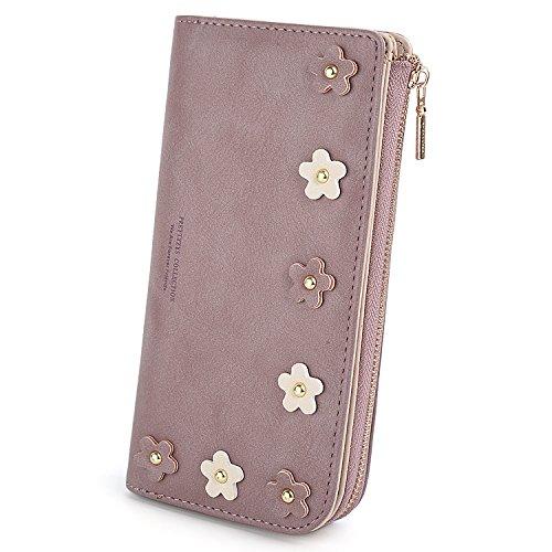 UTO Geldbörse Damen PU Leder Nette Blume Clutch Mädchen Celephone Kartenhalter Reißverschluss Münzfach Lila