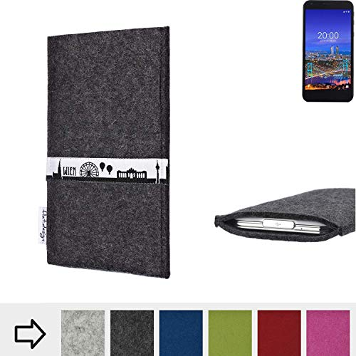 flat.design für Vestel 5530 Schutztasche Handy Hülle Skyline mit Webband Wien - Maßanfertigung der Schutzhülle Handy Tasche aus 100% Wollfilz (anthrazit) für Vestel 5530