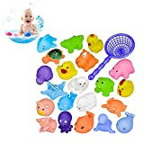 Badespielzeug-Set, 21 Stück Bade Spielzeug, Badewannenspielzeug Baby, Angelspiel Badespaß, Wasserspiel Angeln Badespaß Spielzeug für Baby Kinder, Ab 7 Monaten, BPA-Frei