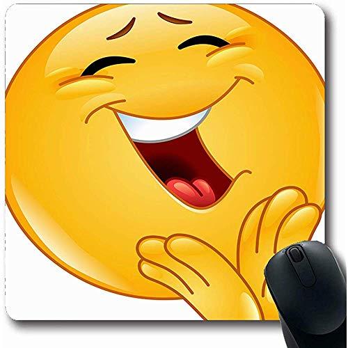 Mousepad Längliche 18X22Cm Applaudieren Gelb Lachen Fröhlich Emoticon Klatschen Emoji Spaß Smiley Applaus Glücklich Lustiges Gesicht Design Büro Computer Laptop Notebook Mauspad, Rutschfeste Gummi